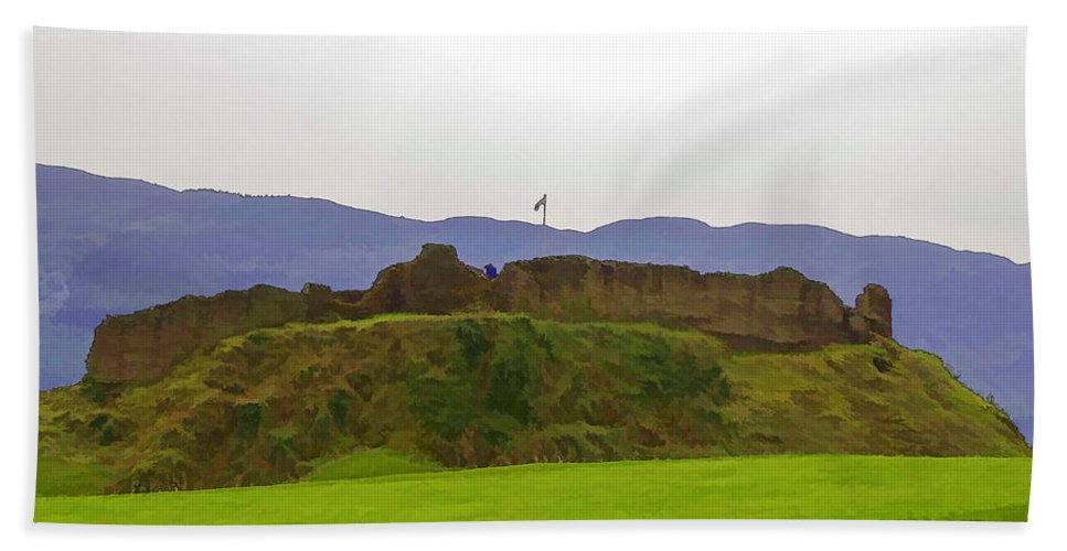 Blue Sky Bath Sheet featuring the digital art Saltire And The Ruins Of The Urquhart Castle by Ashish Agarwal