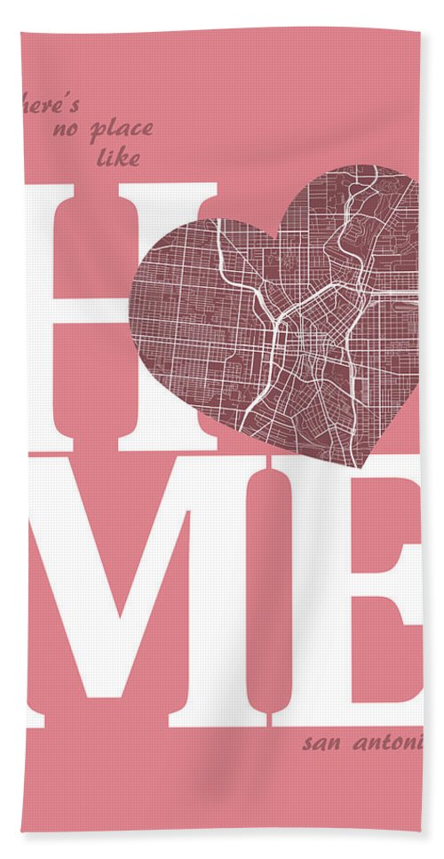 Road Map Hand Towel featuring the digital art San Antonio Street Map Home Heart - San Antonio Texas Road Map I by Jurq Studio