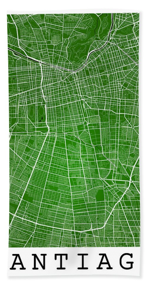 Road Map Hand Towel featuring the digital art Santiago Street Map - Santiago Chile Road Map Art On Colored Bac by Jurq Studio
