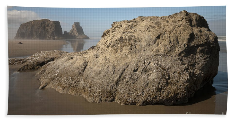 Nature Hand Towel featuring the photograph Sea Stacks by John Shaw
