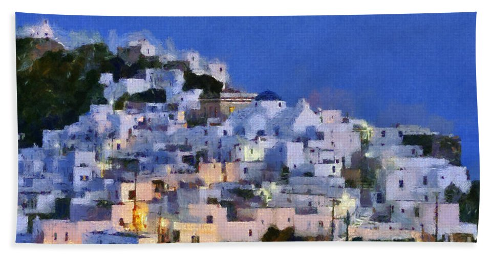 Serifos; Chora; Hora; Village; Town; Greece; Hellas; Greek; Cyclades; Kyklades; Aegean; Islands; Dusk; Twilight; Island; Night; Lights; Holidays; Vacation; Travel; Trip; Voyage; Journey; Tourism; Touristic; Summer; Blue Sky; White; House; Houses; Paint; Painting; Paintings Hand Towel featuring the painting Serifos Town During Dusk Time by George Atsametakis