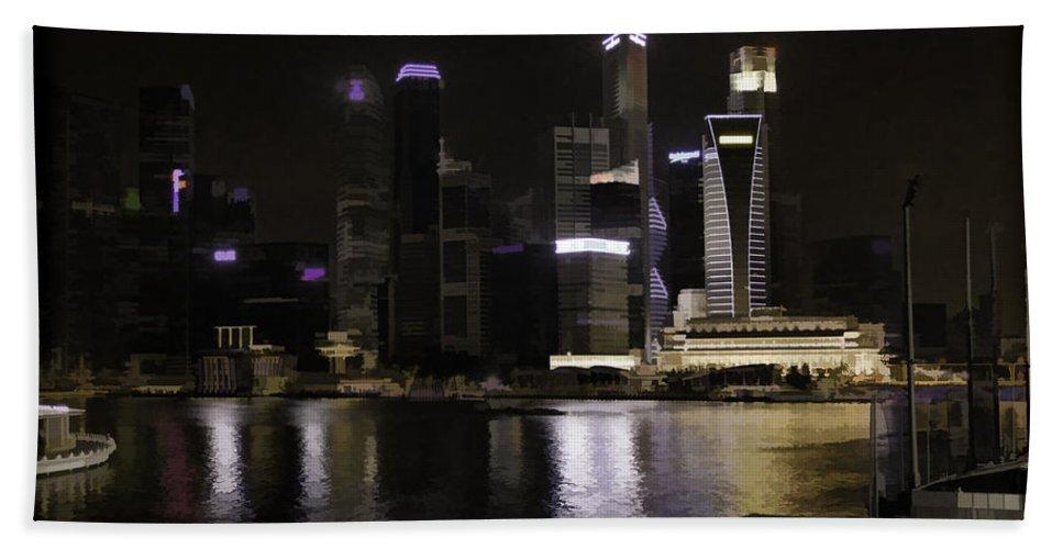 Action Bath Sheet featuring the photograph Singapore Skyline As Seen From The Pedestrian Bridge by Ashish Agarwal
