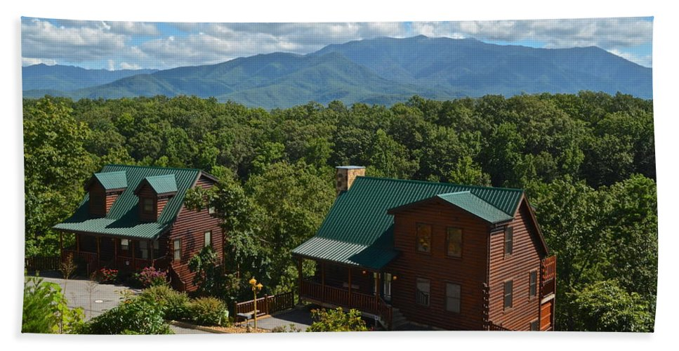 Smoky Hand Towel featuring the photograph Smoky Mountain Cabins by Frozen in Time Fine Art Photography