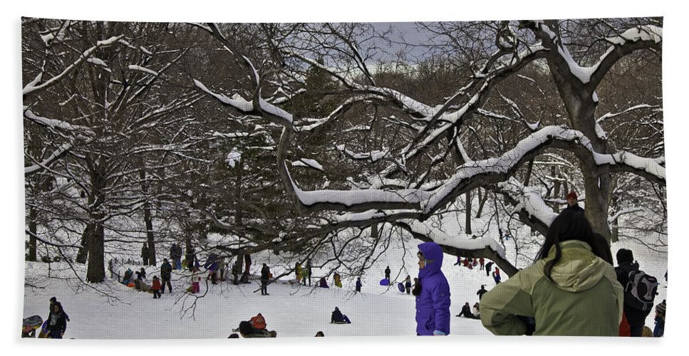 Snowboard Hand Towel featuring the photograph Snowboarding In Central Park 2011 by Madeline Ellis
