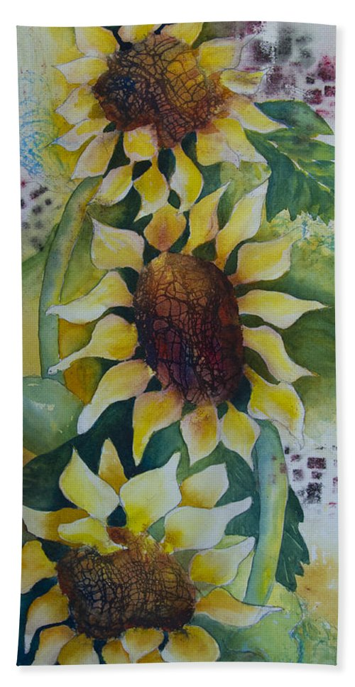 Sunflower Hand Towel featuring the painting 3 Sunflowers by Dee Carpenter