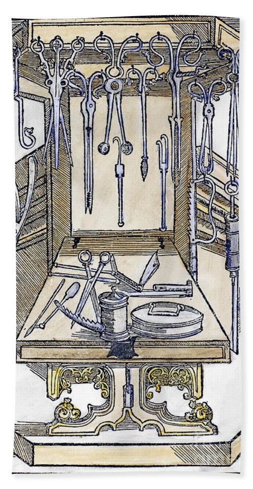 15th Century Bath Sheet featuring the photograph Surgical Instruments by Granger