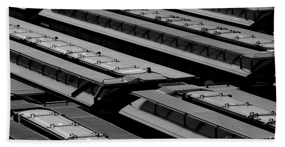 Boxcars Bath Sheet featuring the photograph Switch Yard For Box Cars by Jim Corwin