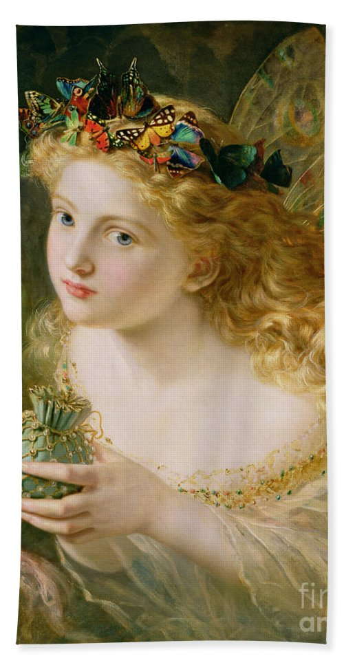 Female Hand Towel featuring the painting Take The Fair Face Of Woman by Sophie Anderson