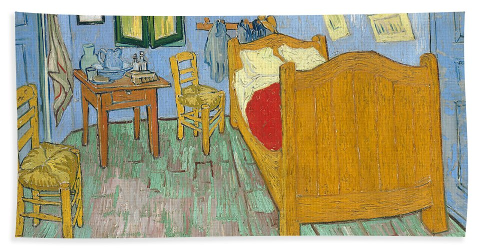 Vincent Van Gogh Hand Towel featuring the painting The Bedroom by Vincent van Gogh