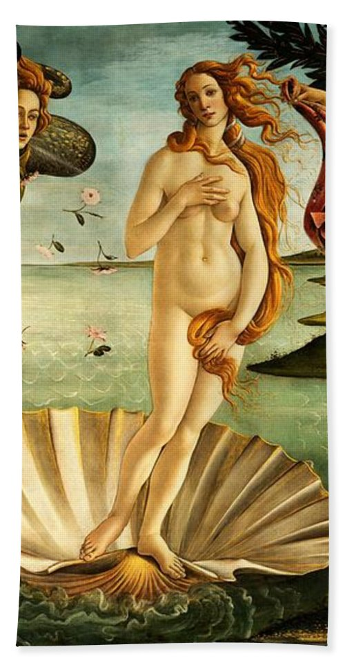 Botticelli Bath Towel featuring the painting The Birth Of Venus by Sandro Botticelli