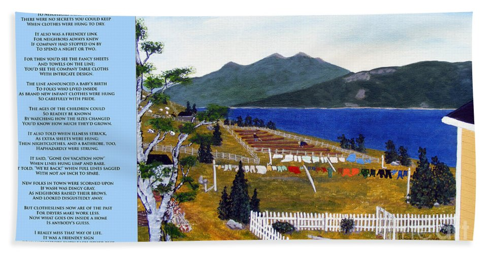 The Clothesline Bath Sheet featuring the painting The Clothesline by Barbara Griffin