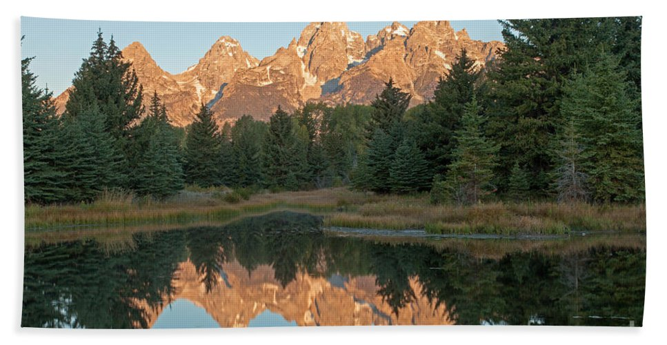 Autumn Bath Sheet featuring the photograph The Grand Tetons Schwabacher Landing Grand Teton National Park by Fred Stearns