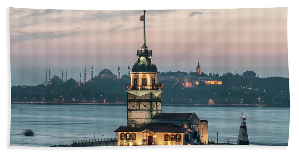 The Maiden's Tower Bath Sheet featuring the photograph The Maiden's Tower by Ayhan Altun