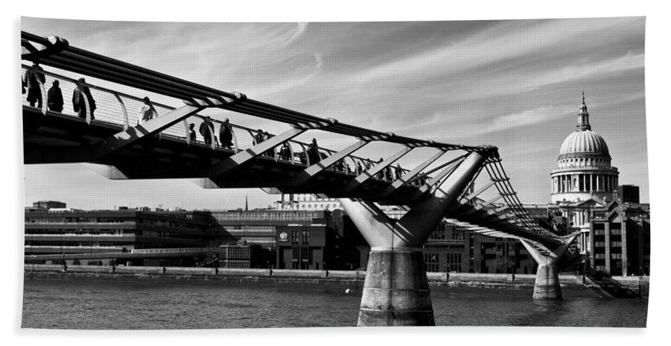 The Shard Bath Sheet featuring the photograph The Millenium Bridge by David Pyatt