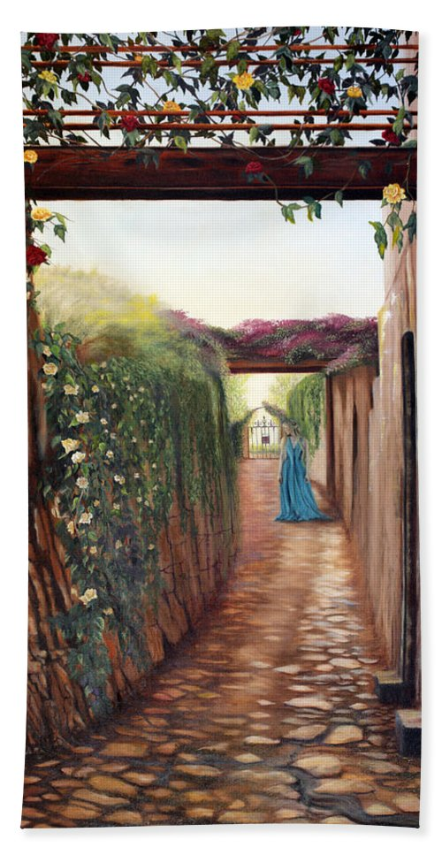 Figurative Hand Towel featuring the painting The Narrow Gate by Jeanette Sthamann
