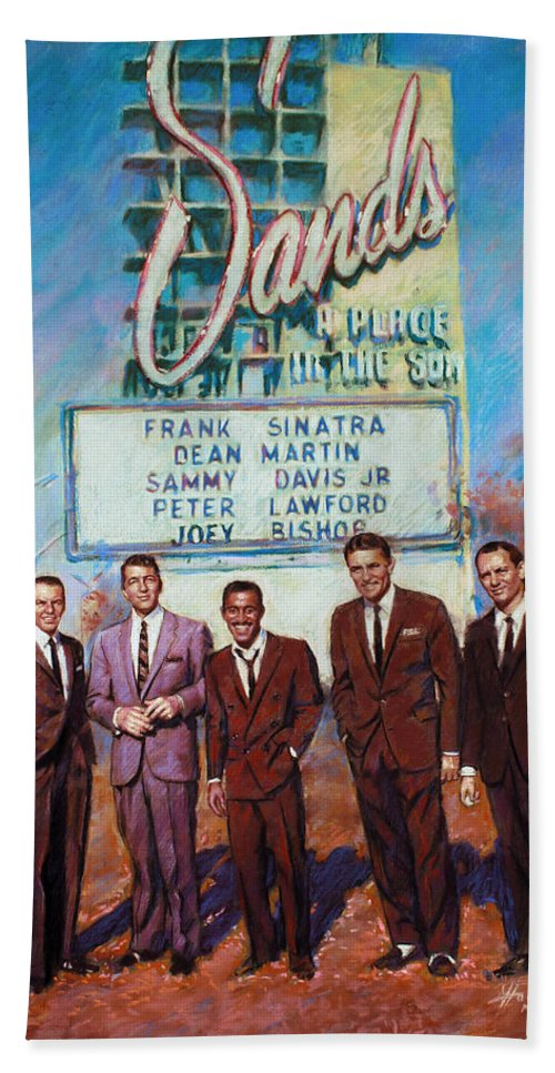 The Rat Pack Hand Towel featuring the drawing The Rat Pack by Viola El