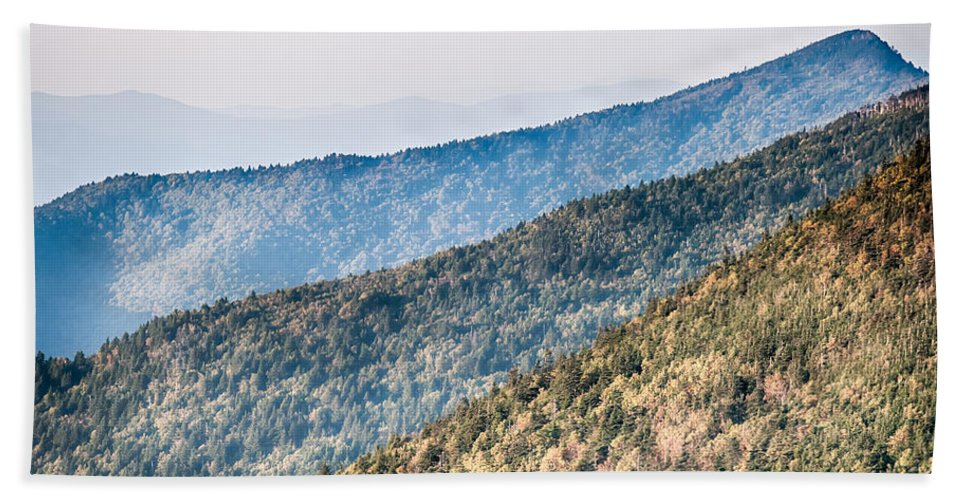 Sunset Bath Towel featuring the photograph The Simple Layers Of The Smokies At Sunset - Smoky Mountain Nat. by Alex Grichenko