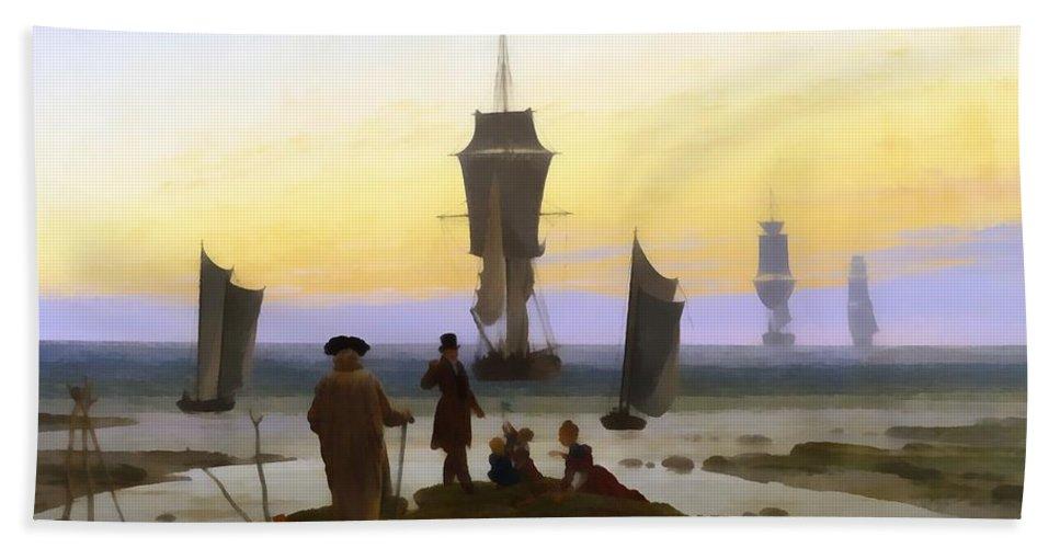 Caspar David Friedrich Bath Sheet featuring the digital art The Stages Of Life by Caspar David Friedrich