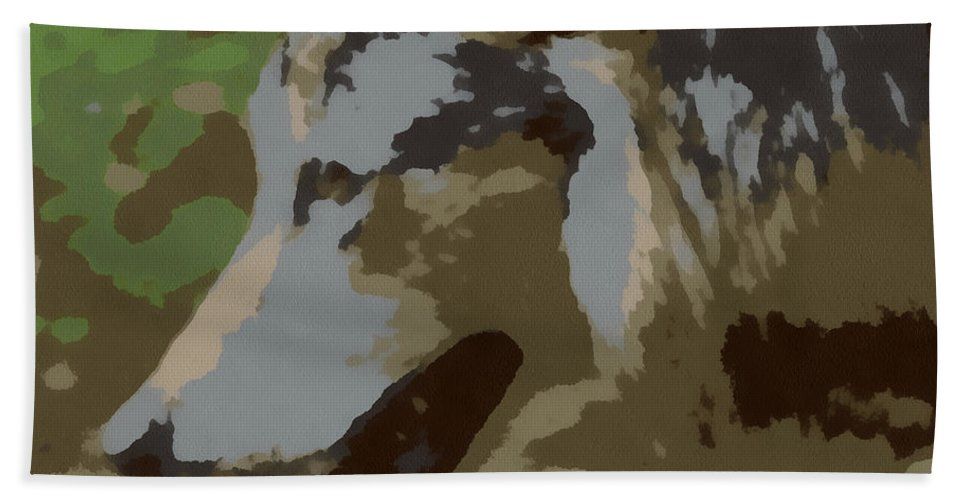 Wolf Hand Towel featuring the digital art The Wolf by Ernie Echols