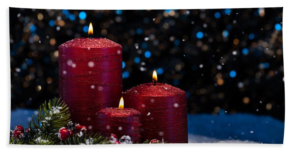 Decoration Bath Sheet featuring the photograph Three Red Candles In Snow by U Schade