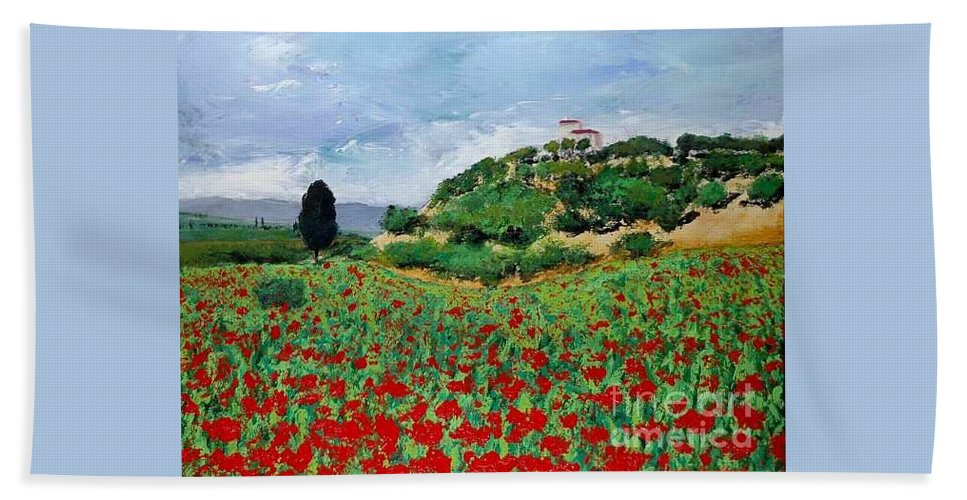 Landscape Bath Sheet featuring the painting Tuscan Poppies by Allan P Friedlander
