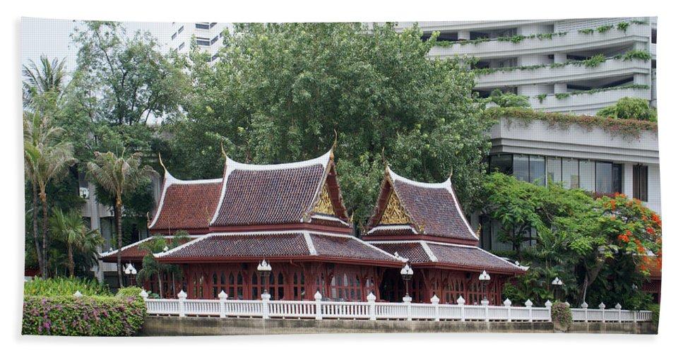 Bangkok Bath Sheet featuring the digital art View From Chao Phraya River In Bangkok by Carol Ailles