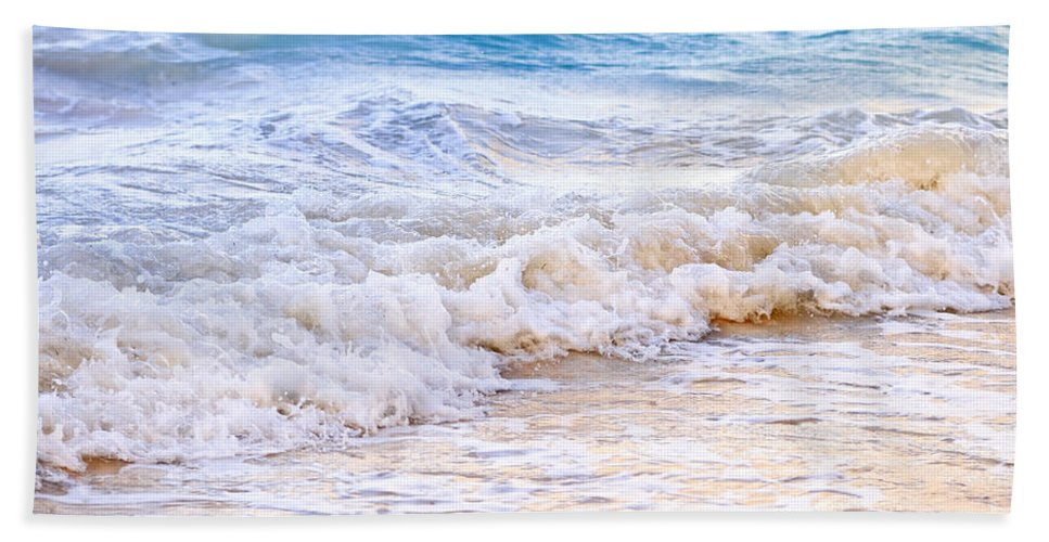 Caribbean Hand Towel featuring the photograph Waves Breaking On Tropical Shore by Elena Elisseeva