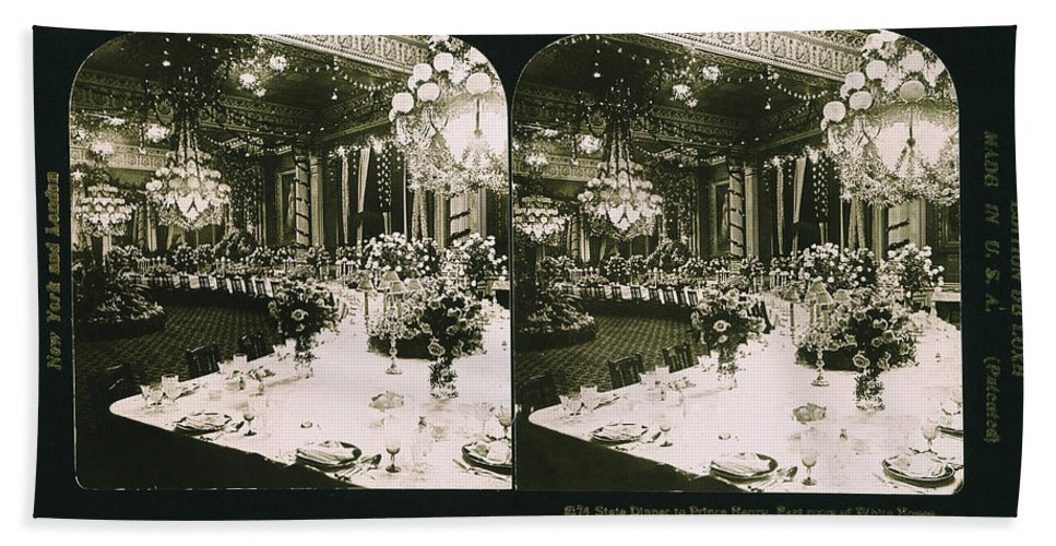 1902 Bath Sheet featuring the photograph White House State Dinner by Granger