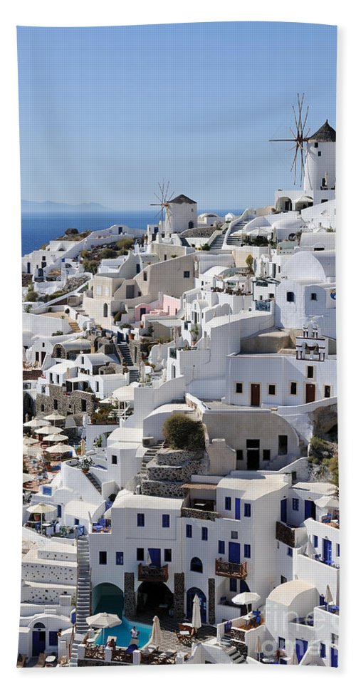 Santorini Bath Sheet featuring the photograph Windmills And White Houses In Oia by George Atsametakis