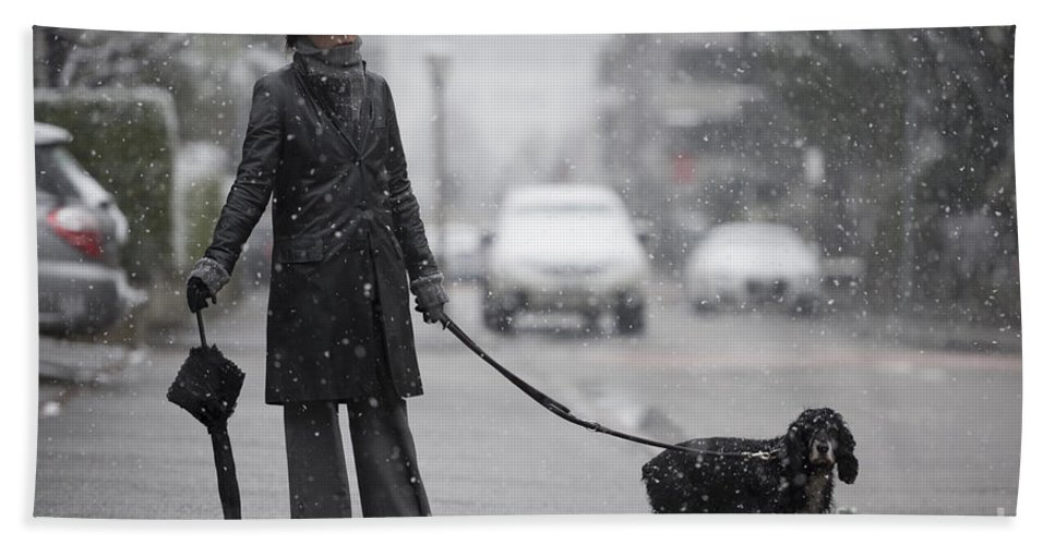 Street Bath Sheet featuring the photograph Woman With Her Dog by Mats Silvan