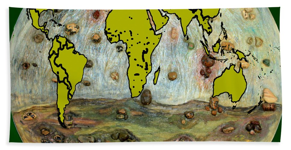 Augusta Stylianou Bath Sheet featuring the digital art World Map And Earth by Augusta Stylianou