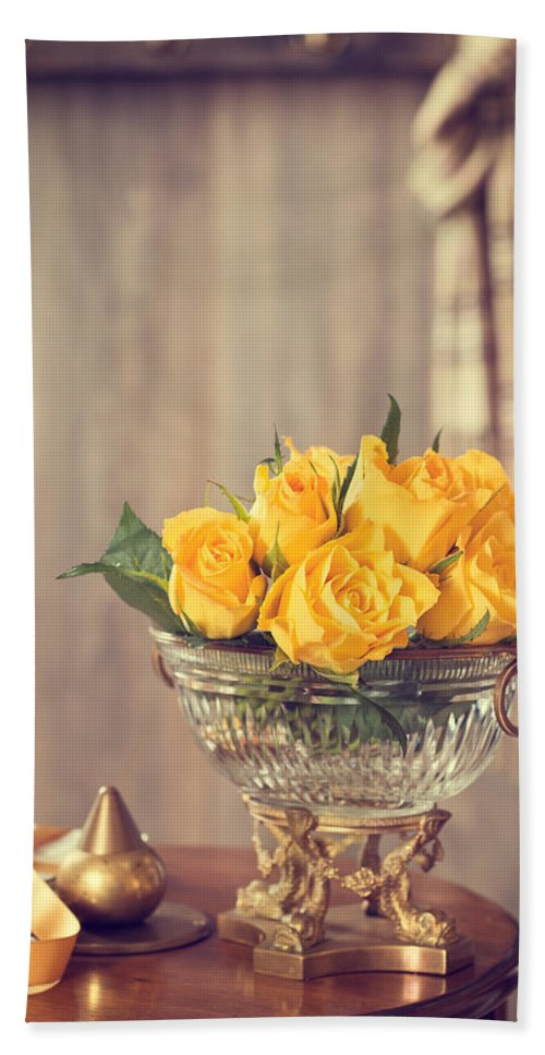 Antique Hand Towel featuring the photograph Yellow Roses by Amanda Elwell