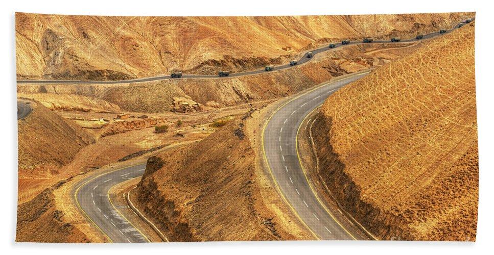 Aerial Hand Towel featuring the photograph Zigzag Road Leh Srinagar Highway Ladakh Jammu And Kashmir India by Rudra Narayan Mitra