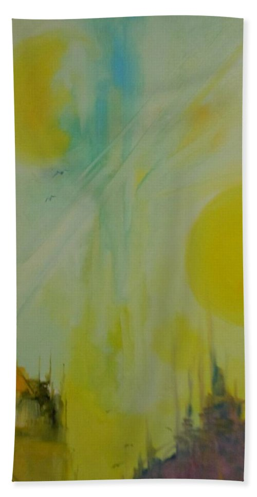 Abstract Hand Towel featuring the painting Abstract Exhibit by Lord Frederick Lyle Morris - Disabled Veteran