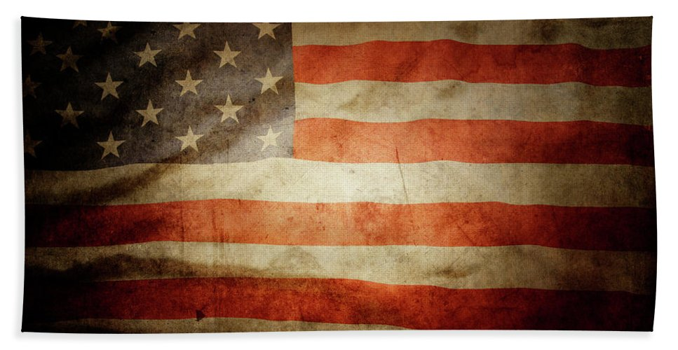 Flag Hand Towel featuring the photograph American Flag Rippled by Les Cunliffe