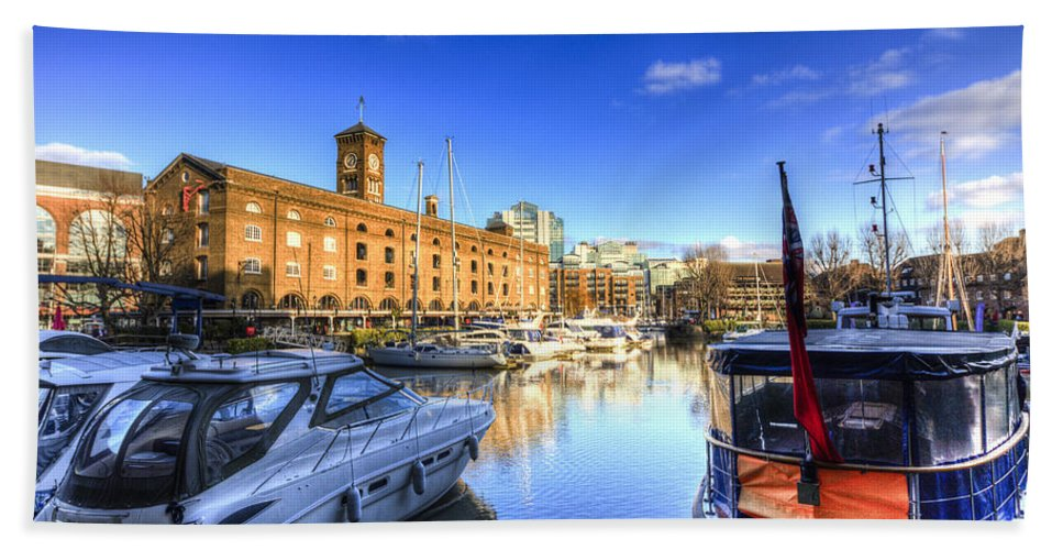St Katherines Dock Bath Sheet featuring the photograph St Katherines Dock London by David Pyatt