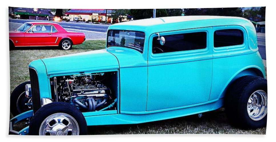 32 Ford Hand Towel featuring the photograph 32 Ford Victoria Two Door by Bobbee Rickard