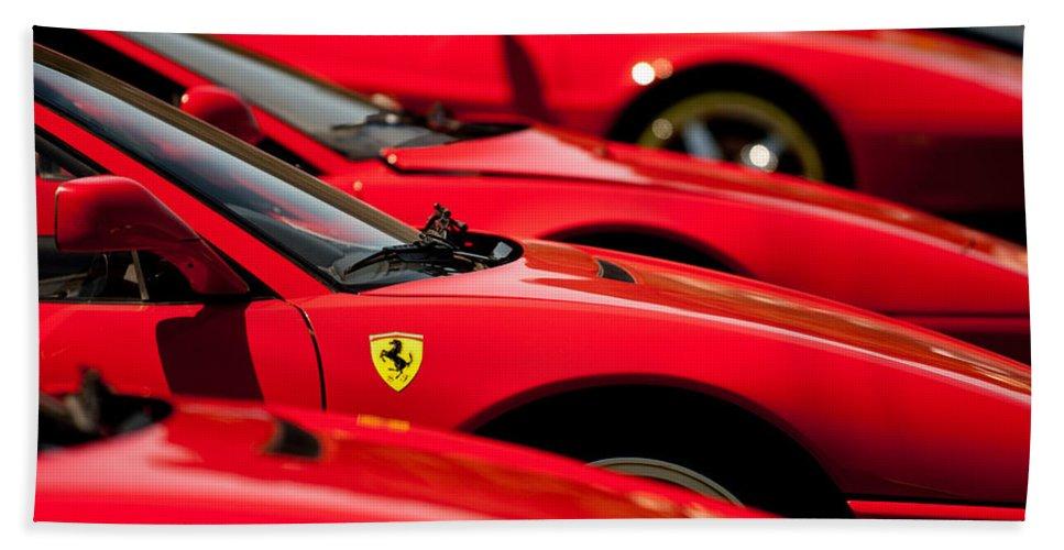 Ferraris Hand Towel featuring the photograph Ferrari Emblem by Jill Reger