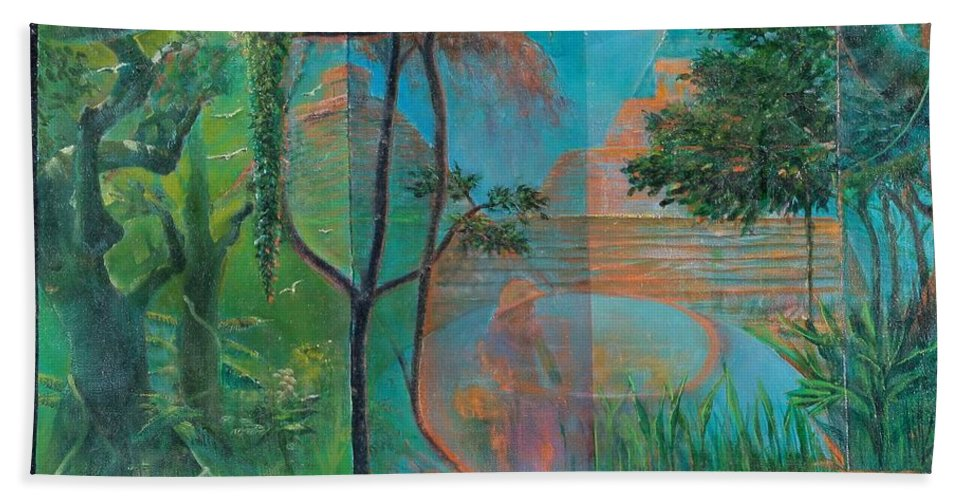 Mayan Ruins Hand Towel featuring the painting Title Unknown by Edward David Lambert