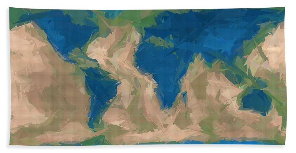 World Hand Towel featuring the digital art World Map by Snowflake Obsidian