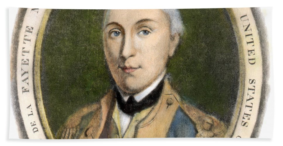18th Century Hand Towel featuring the photograph Marquis De Lafayette by Granger