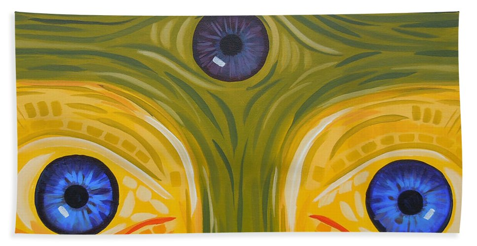 Face Hand Towel featuring the painting 3eyes2c by Tonya Henderson