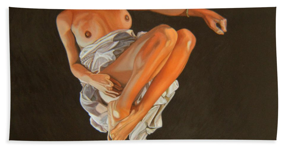 Semi-nude Bath Sheet featuring the painting 4 30 Am by Thu Nguyen