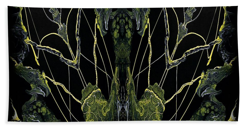 Black Bath Sheet featuring the painting Abstract 92 by J D Owen