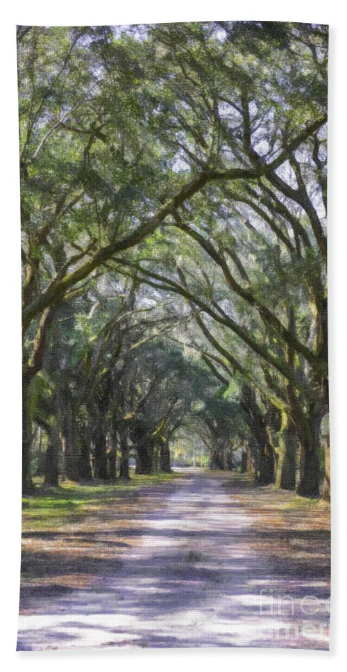 Allee Of Oaks Hand Towel featuring the photograph Allee Of Oaks Road by Dale Powell