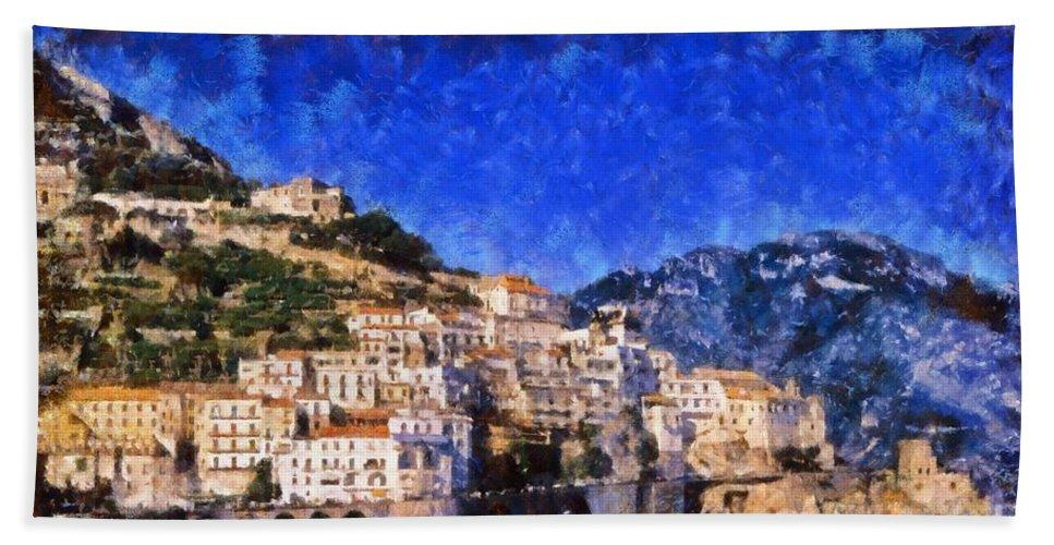 Amalfi Bath Sheet featuring the painting Amalfi Town In Italy by George Atsametakis