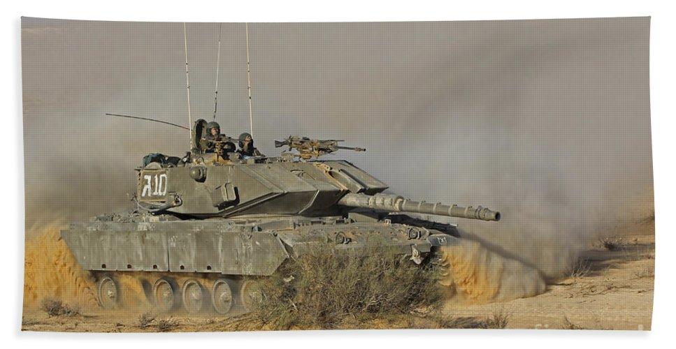 Battletank Bath Sheet featuring the photograph An Israel Defense Force Magach 7 Main by Ofer Zidon