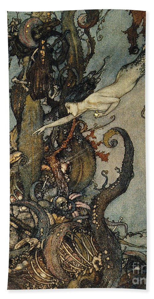 1911 Hand Towel featuring the photograph Andersen: Little Mermaid by Granger