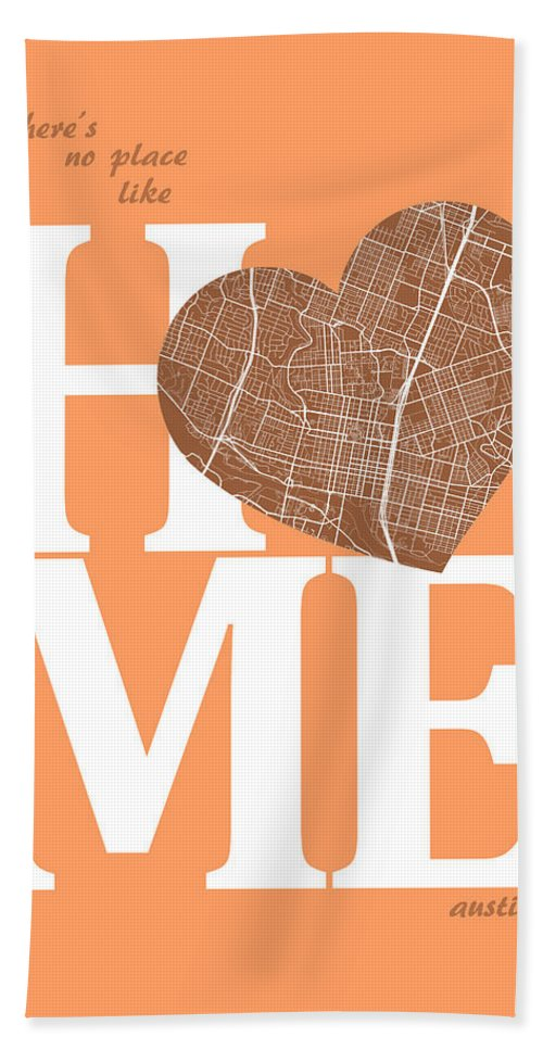 Road Map Hand Towel featuring the digital art Austin Street Map Home Heart - Austin Texas Road Map In A Heart by Jurq Studio