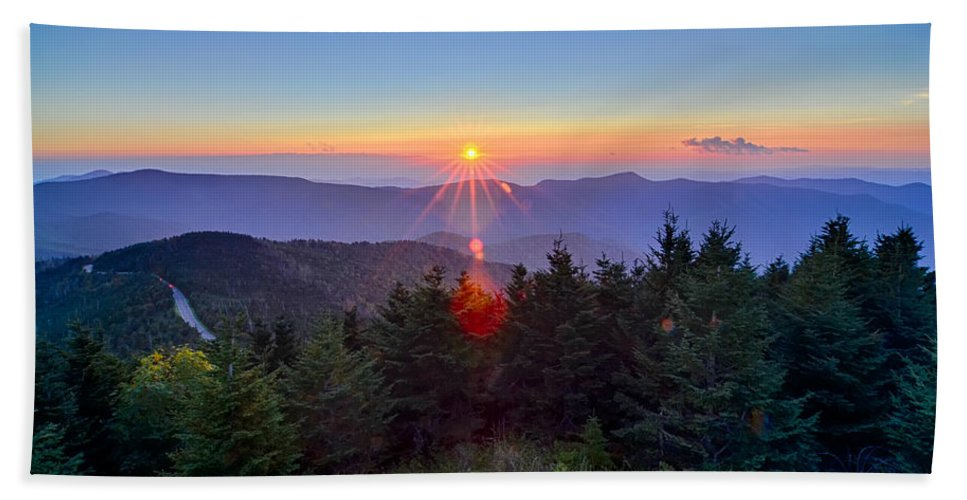 Mountains Bath Sheet featuring the photograph Blue Ridge Parkway Autumn Sunset Over Appalachian Mountains by Alex Grichenko